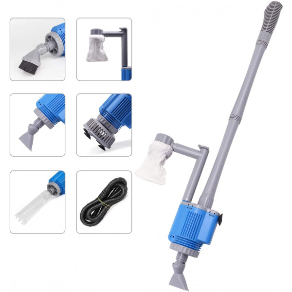 Electric Aquarium Cleaner, 12V DC/28W Auto Fish Tank Gravel Cleaning kit 6 in 1 Change Water and Wash Sand Filter for Aquarium 10-200 Gallon